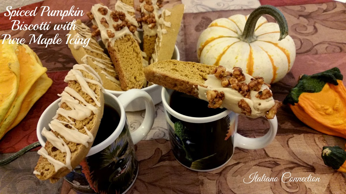 Spiced Pumpkin Biscotti with Pure Maple Icing and Maple Candied Walnuts