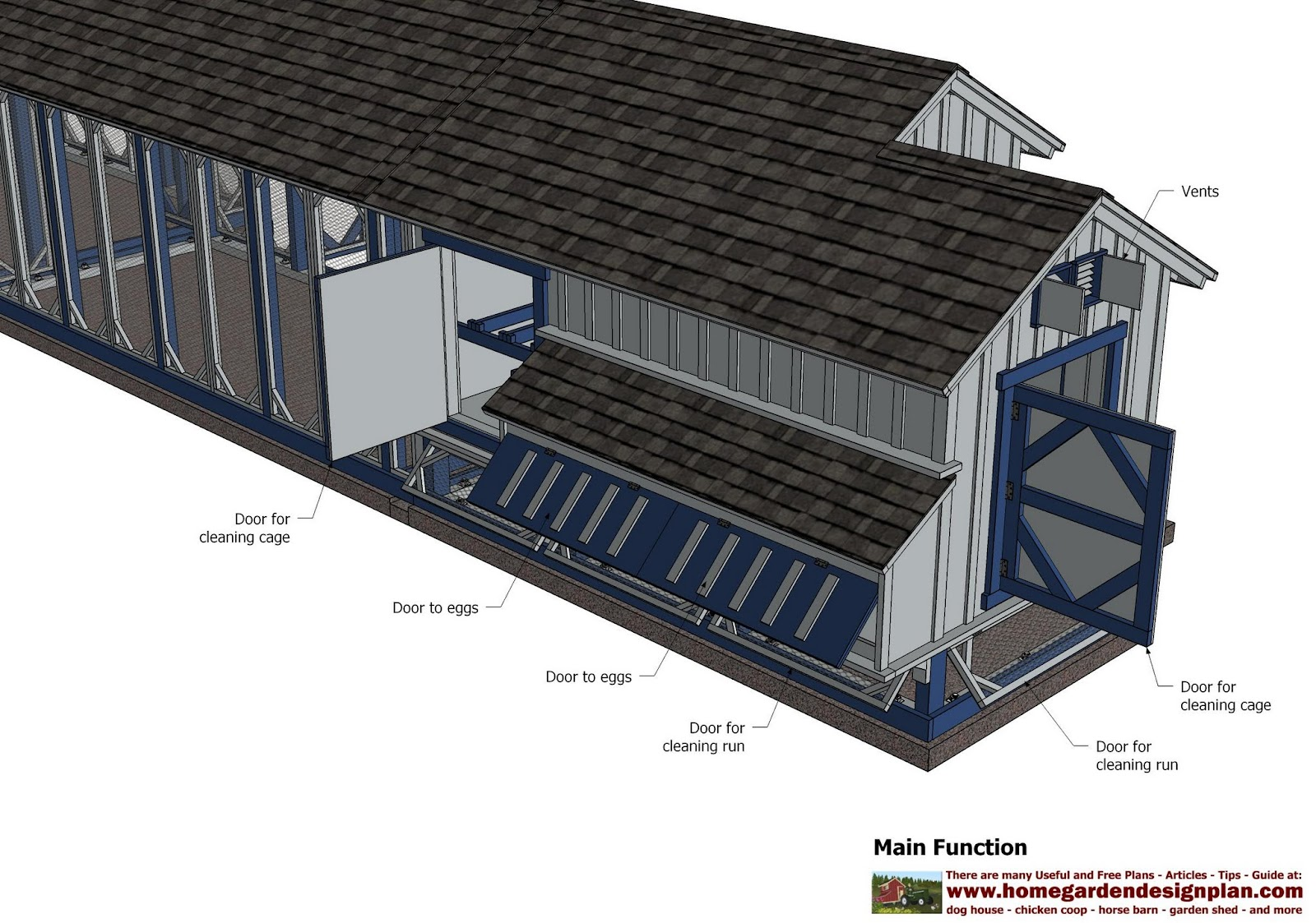 Home garden plans l200 chicken coop plans construction for A frame chicken house