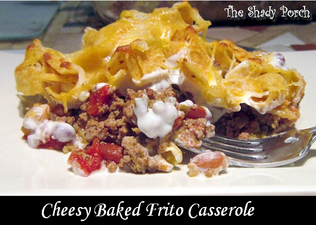Cheesy Baked Frito Casserole #casserole #recipe #groundbeef #Fritos
