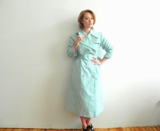 Periwinkle Blue Vintage Double Breasted Trench Coat