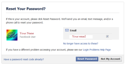 recovering facebook account with email