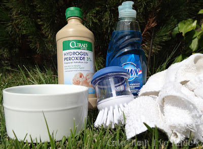 miracle carpet cleaner, peroxide, dawn, scrubber, bowl, towel