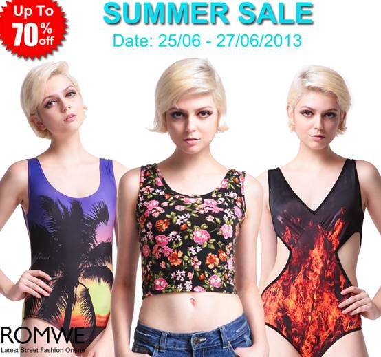 Romwe Summer Sale  Up to 70% off! Hundreds of styles!