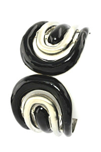 Bold black &amp; silver bangle