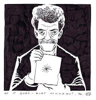 Caricatura de Kurt Vonnegut realizada por D'Israeli