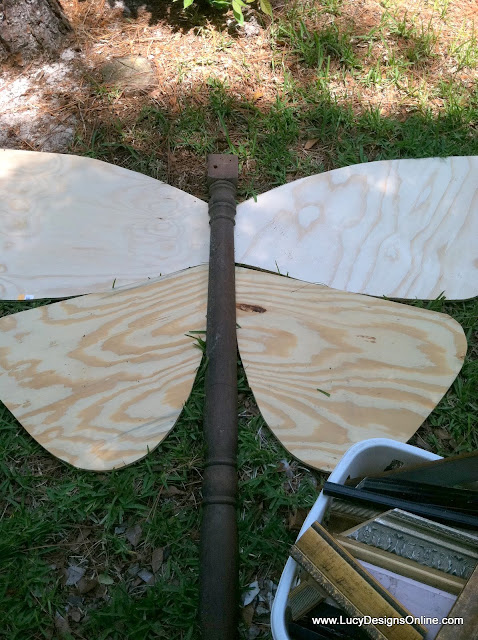 plywood wings cut out for giant butterfly