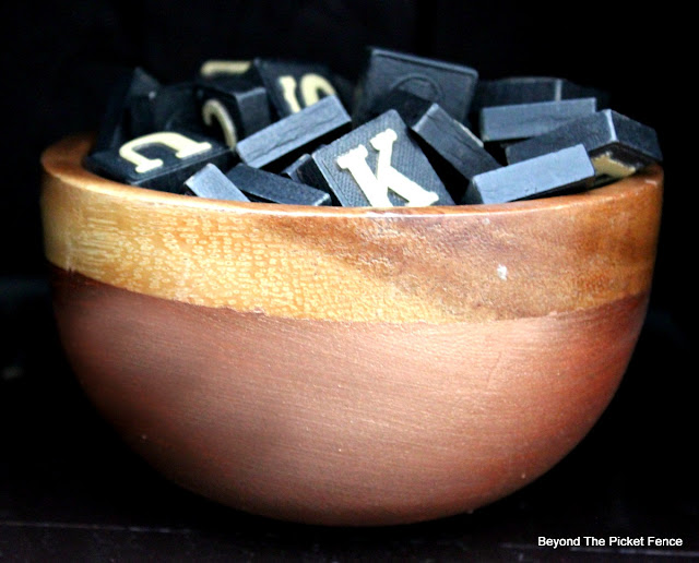 wood bowl, copper paint, fusion mineral paint, anagrams, rustic decor, chic, http://bec4-beyondthepicketfence.blogspot.com/2016/01/rustic-chic-marriage-contracts.html
