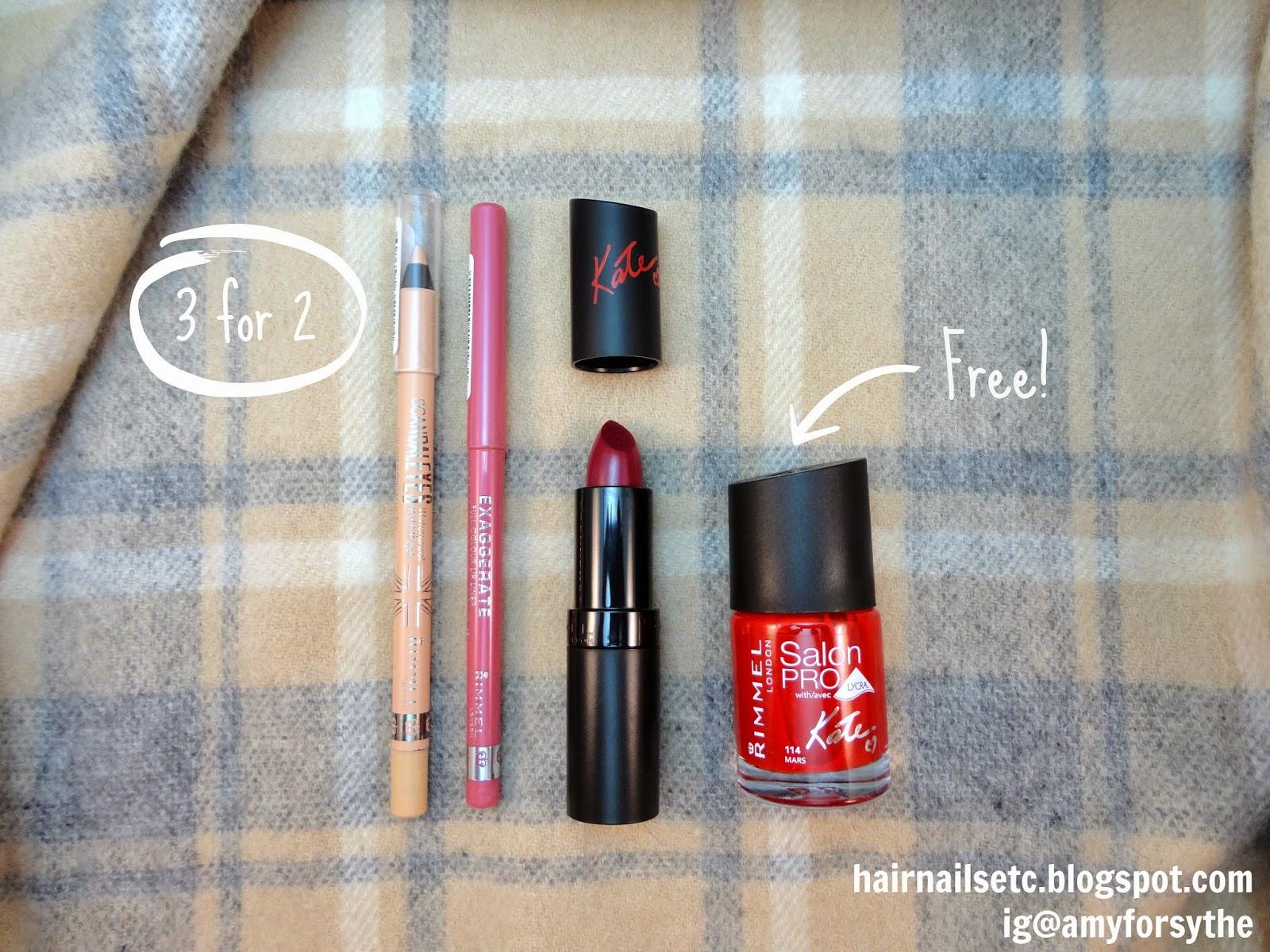 Boots UK Beauty Haul - Rimmel Scandal Eyes Kohl Liner, Rimmel Exaggerate Lip Liner, Rimmel Kate Lasting Finish Lipstick, Rimmel Salon Pro by Kate Nail Polish