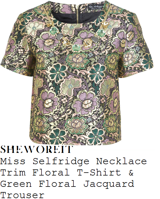ashley-roberts-gold-green-purple-and-black-floral-jacquard-pattern-short-sleeve-top-and-trousers