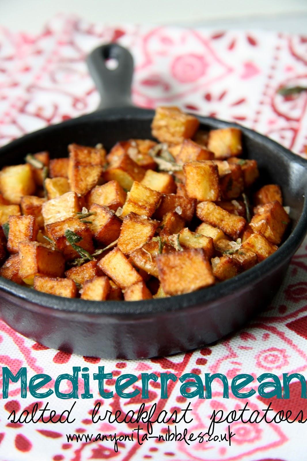Pan of #fried diced #potato with rosemary #salt from Anyonita Nibbles #glutenfree #vegetarian #vegan