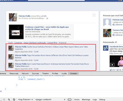 Marcando todos os amigos - Facebook
