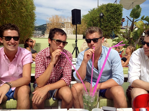 The boys sipping on the giant mojito at the 3.14 Pool Party