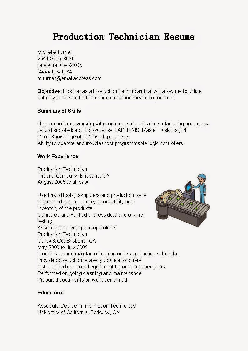 resume samples  production technician resume sample