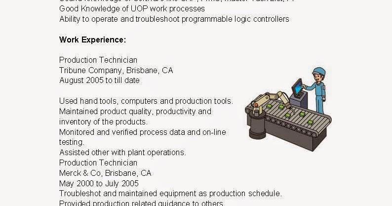 resume samples  production technician resume sample