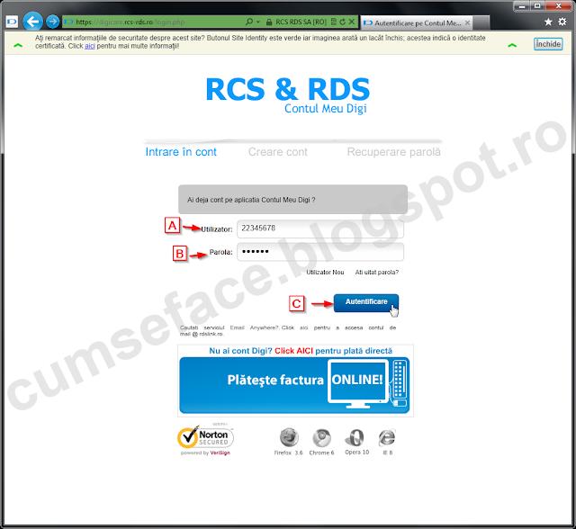 schimbare parola RDS