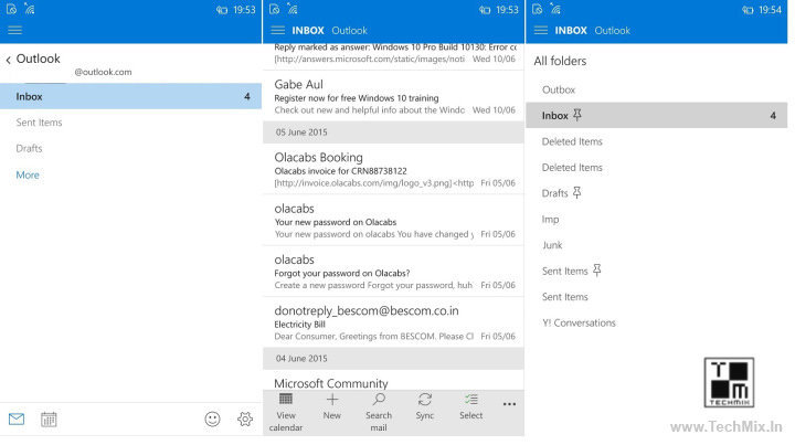Outlook Mail App Updated on Windows 10 mobile