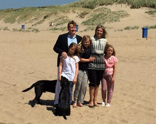 Queen Maxima and King Willem-Alexander, with Princess Amalia and Princess Alexia and Princess Ariane with dog Skipper