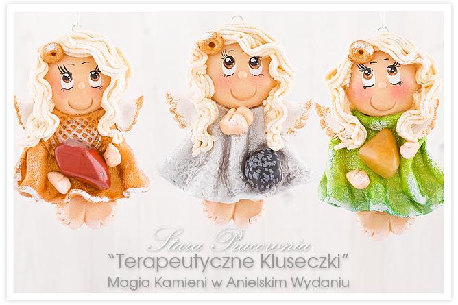 aniołki z masy solnej z kamieniami półszlachetnymi, anioły z kamieniami, masa solna