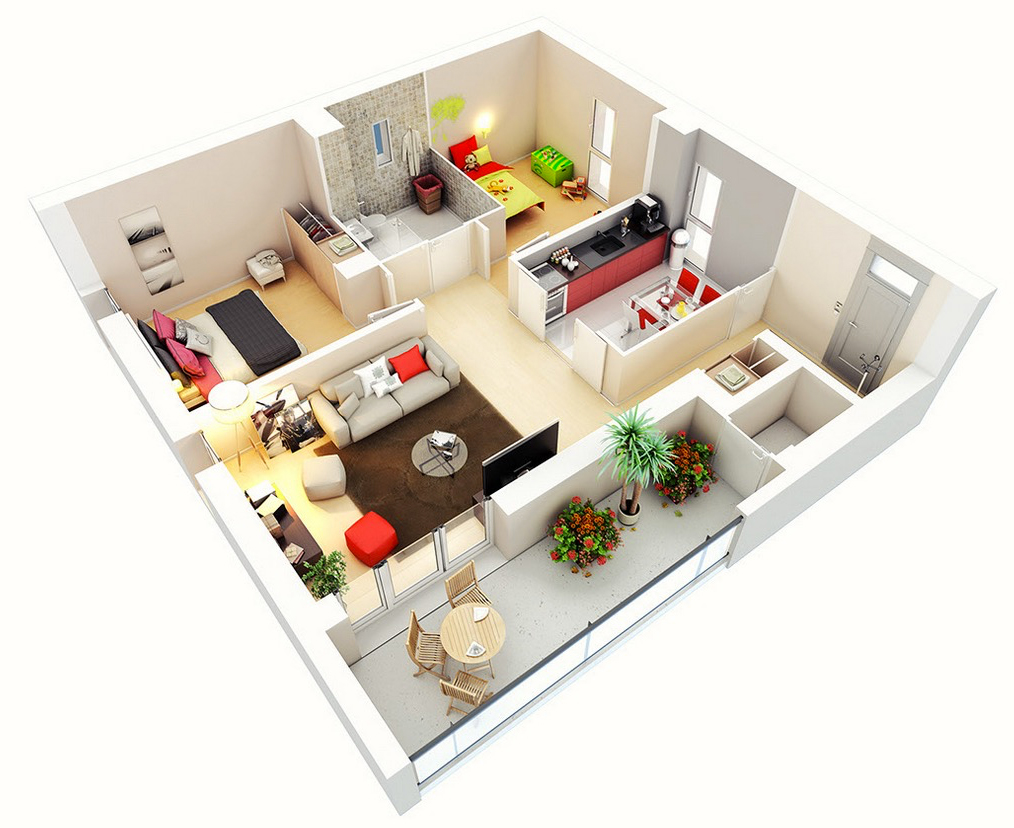 3D Floor Plans: 3D Floor Design With Two Bedrooms Next To Each Other