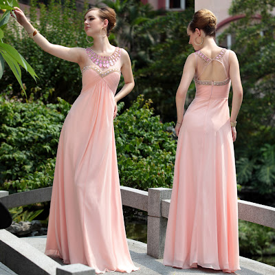 Light Pink Scoop Floor Length Dress