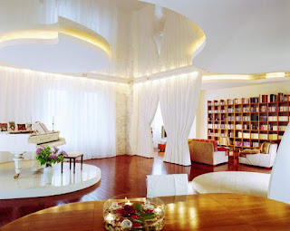 elegance living room design in white and wooden home interior