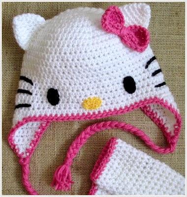 Gambar Topi Hello Kitty Lucu Pink Penutup Kepala Rajut Hello Kitty