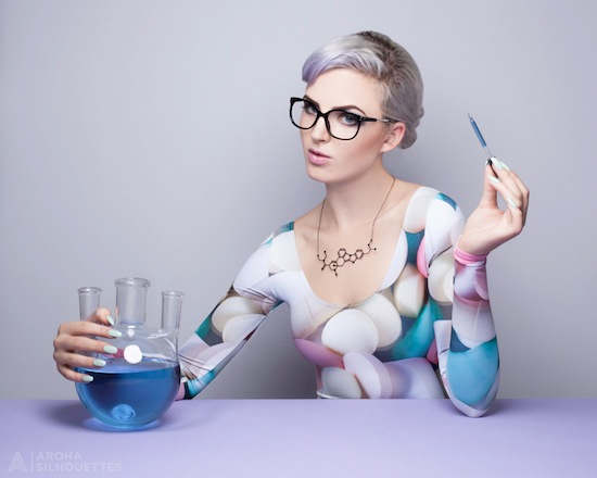 Aroha Silhouettes, Designer Drugs, necklace, molecule, MDMA, lysergic acid diethylamide, acid, LSD, ecstasy, drugs, stainless steel, silver, gunmetal, black, supermolecules, laboratory