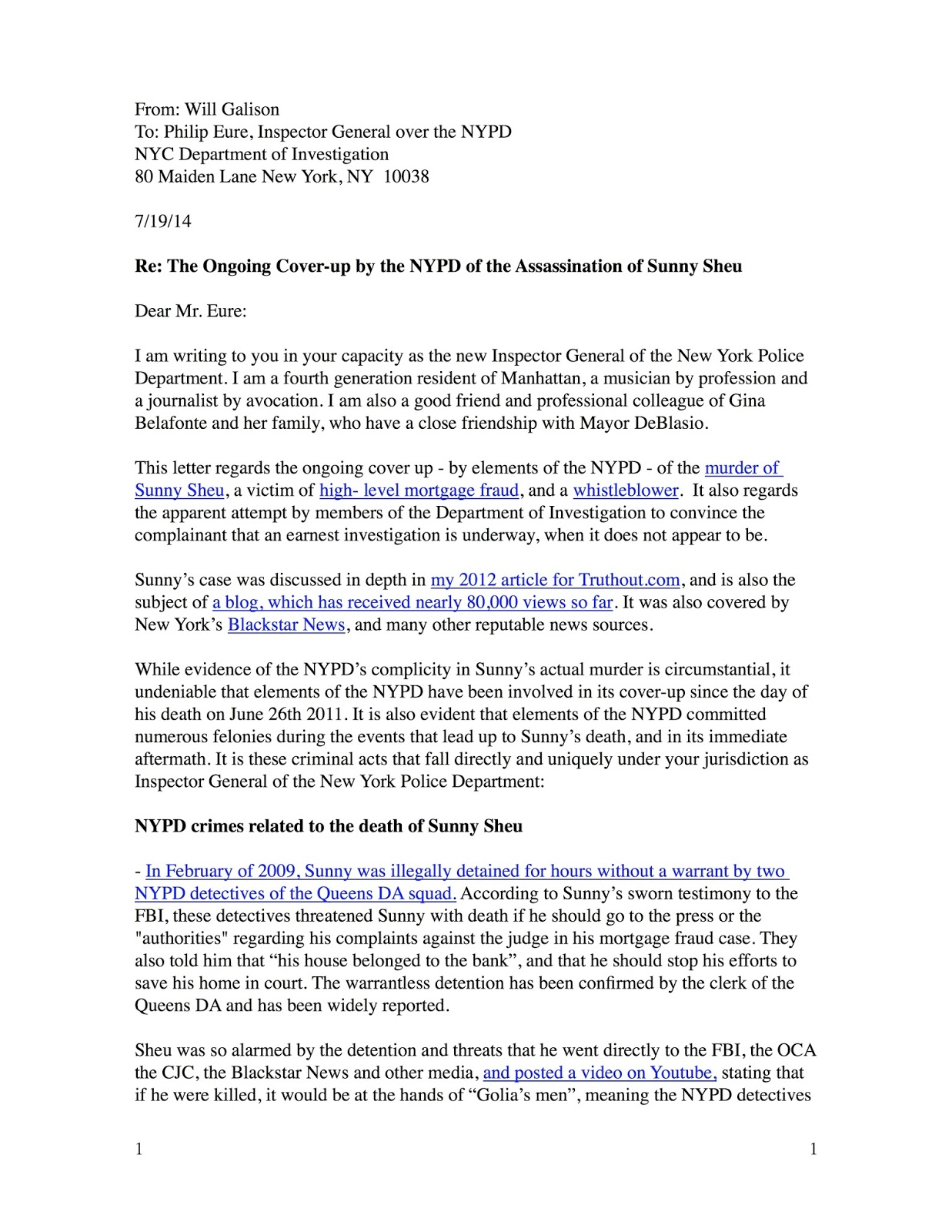 july 19 2014 certified letter to philip eure inspector general for the nypd