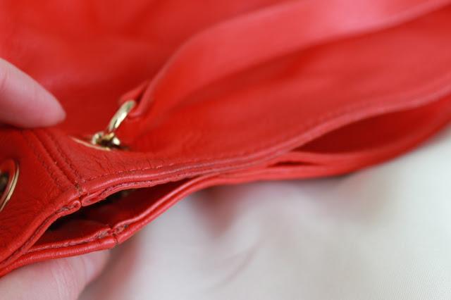 Blog sale red Michael Kors handbag close up