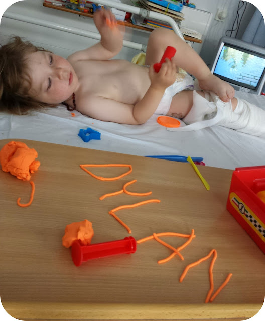 playdough, toddler in traction, typical day in hospital, toddler broken leg