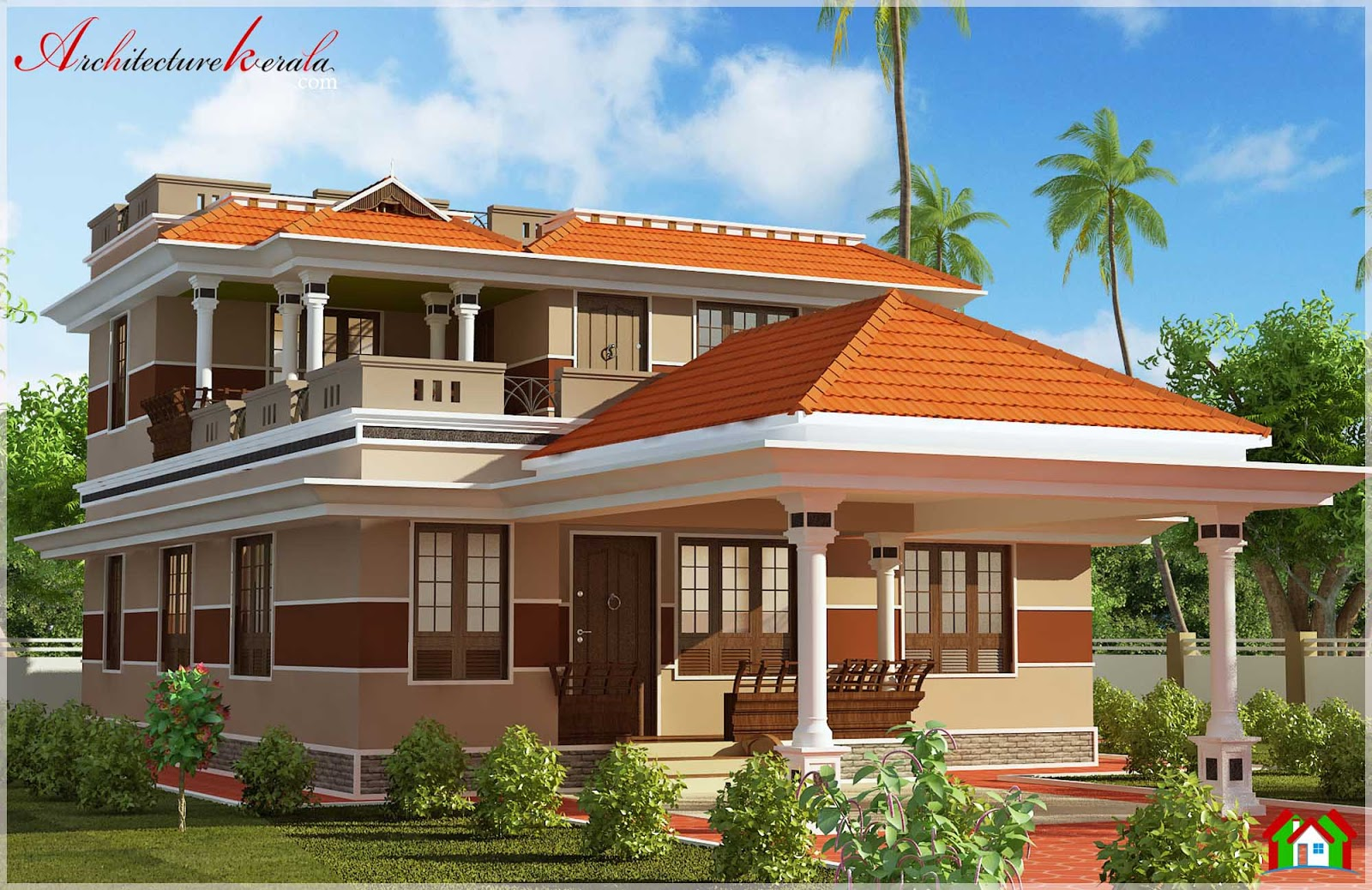 Attractive kerala house with pooja room in 2000 square for Apartment design kerala