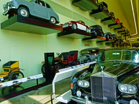 Car wall, classic cars, museum of transport, Glasgow, Scotland