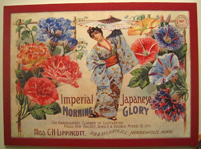 Litho of Japanese woman in kimono with many colored morning glories