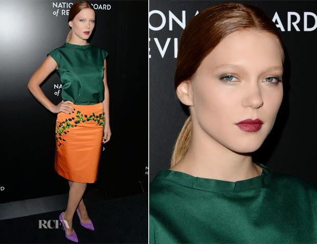 lea seydoux, combinação de cores, verde e laranka, look verde e laranja, scarpin lilás, look prada, red carpet, blog camila andrade, blog de moda de ribeirão preto, combinar cores no look