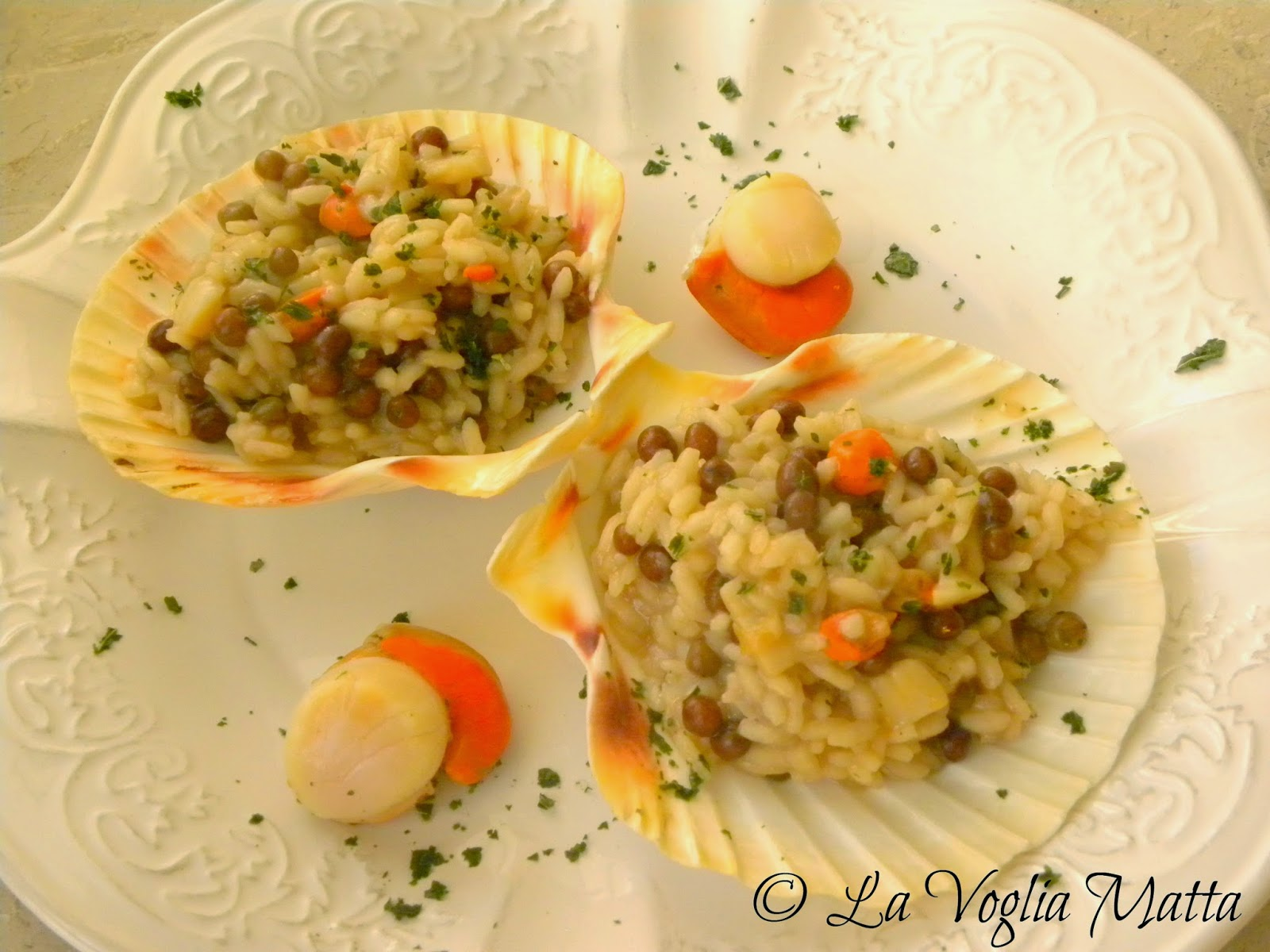 ricetta risotto riso roveja capesante