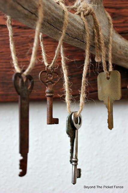 rustic chic, old keys, rusty, antlers, copper paint, reclaimed wood, jute, simple, Valentines Day,http://bec4-beyondthepicketfence.blogspot.com/2016/01/rustic-chic-marriage-contracts.html