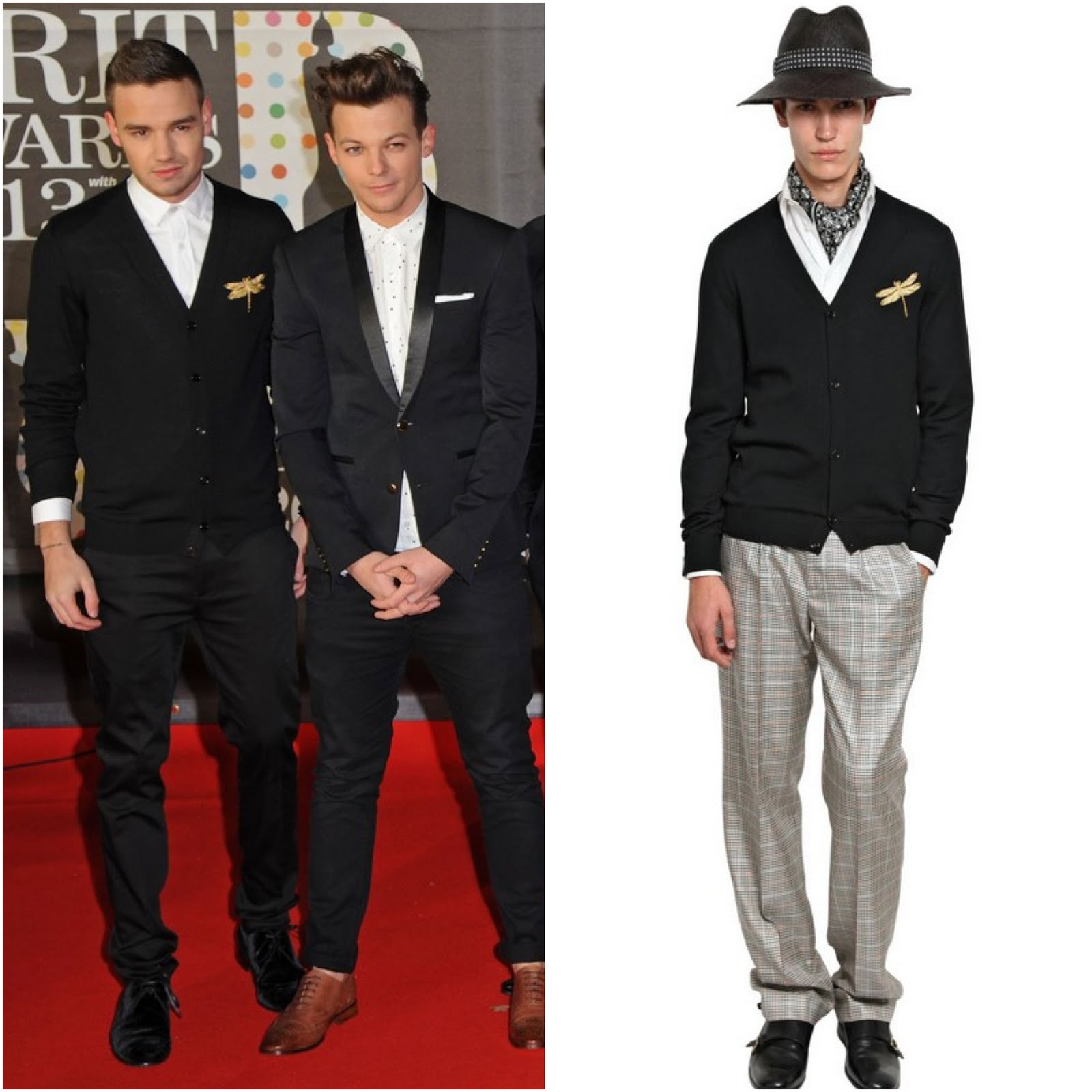 00O00 Menswear Blog Liam Payne from One Direction in Alexander McQueen gold dragonfly embroidered cardigan - Brits Awards 2013, #Brits2013