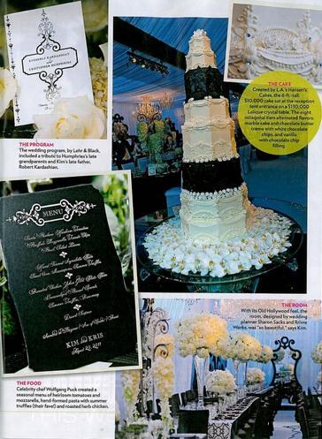 O bolo, o menu e a decoração do casamento de Kim Kardashian