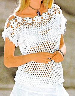 Jersey blanco con canesú de flores