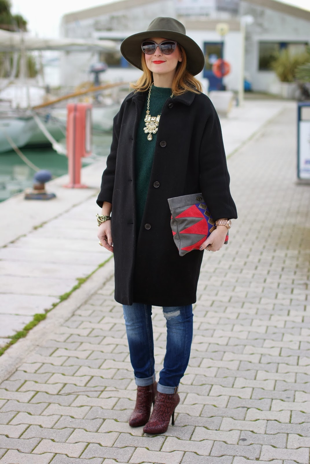 Loriblu ankle boots, Kiomi black coat, Mohekann Navajo clutch, Fashion and Cookies, fashion blogger