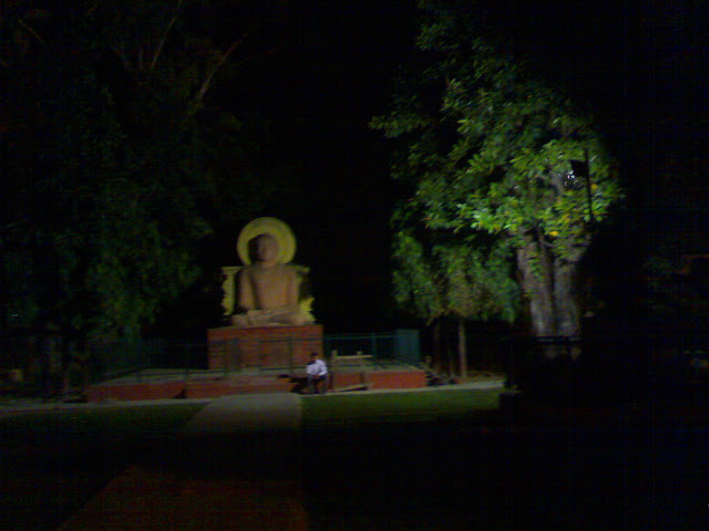 A night view of Buddha Park in Lucknow