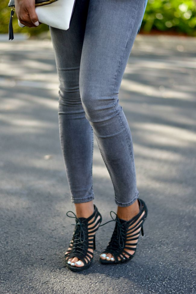 Moto Jeans & Lace Up Heels | Summer Outfits