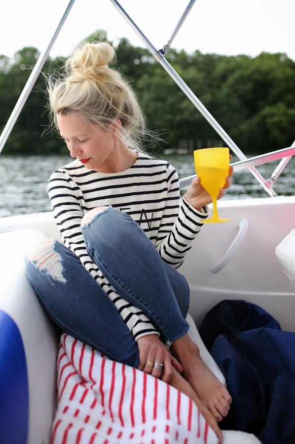 Atlantic-Pacific's Blair Eadie on a boat