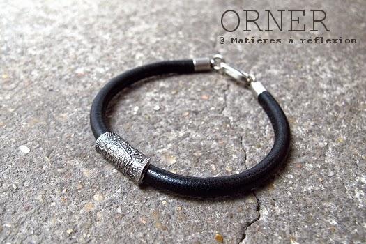 Bijoux unisex bracelet Orner cuir noir