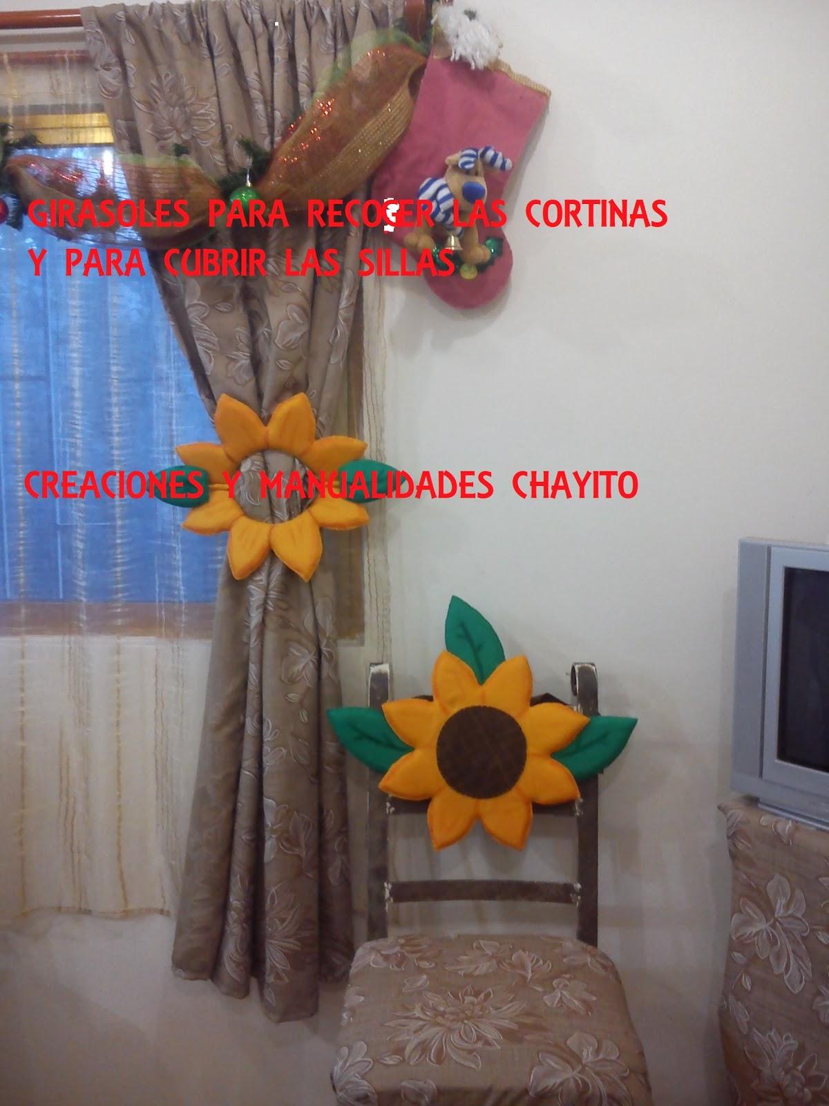 Creaciones Y Manualidades Chayito Girasol Para Recoger La Cortina - Adornos-para-cortinas