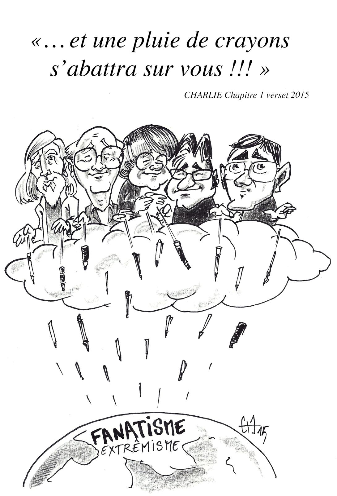 dessin de presse hommage à la Tuerie de Charlie par Guillaume Néel Caricaturiste nantes vendée
