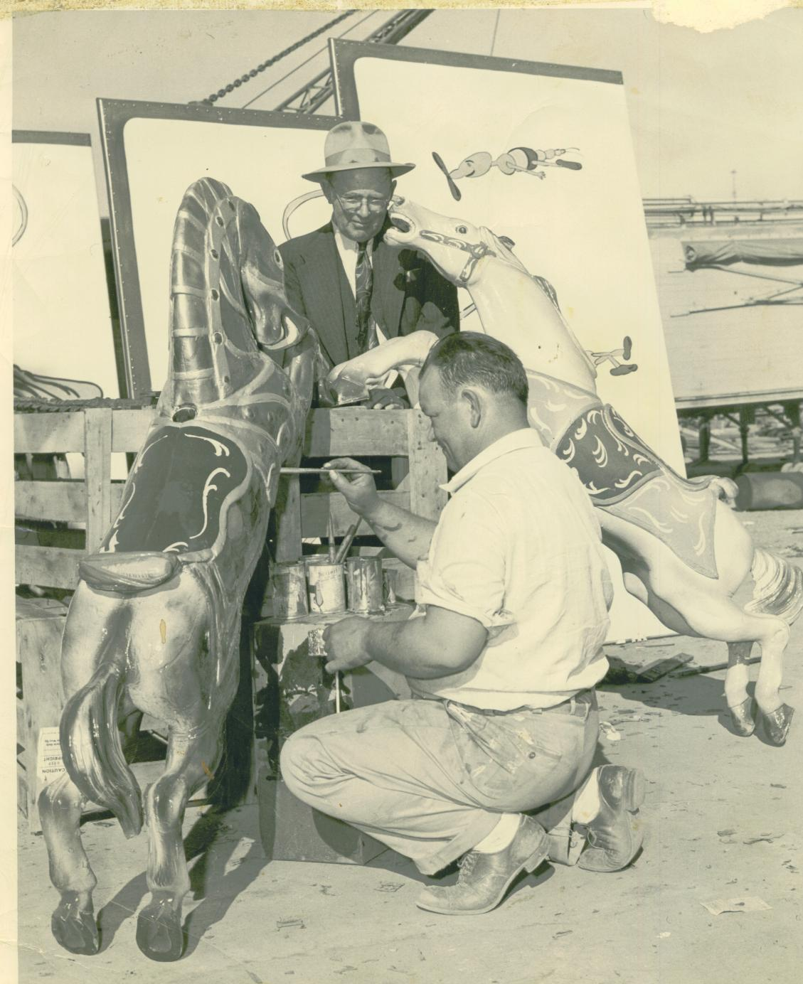 Norman prather painting carousel horse and in his neon for A final touch salon