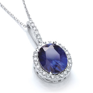 Silver Sapphire Blue Cubic Zirconia Oval Cluster Pendant