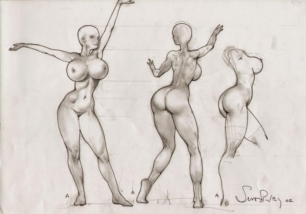 Dessin de Simon Bisley représentant une esquisse de femme nue et voluptueuse en noir et blanc