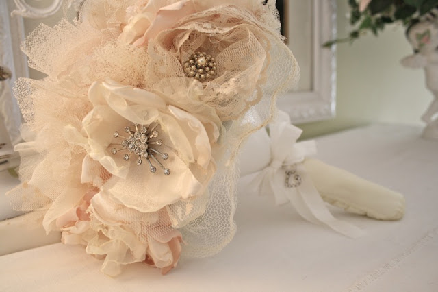 How To Use Bridal Bouquet Holder : The polka dot closet fabric flower bridal bouquet